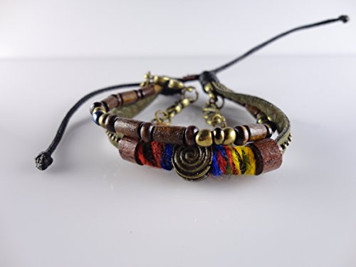 Leather Braided, Wooden Pieces, Fits for All, Adjustable by Handmade Studio HS4063 - Fossil Brand Charms
