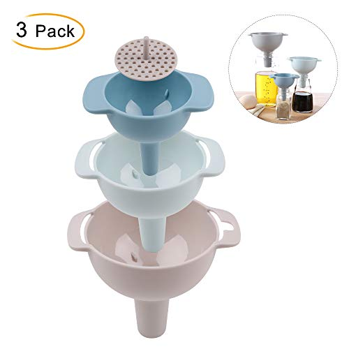 Funnel Set 3 Pack of Food Grade PP Plastic Funnel Removable Strainer Funnel Great for Transferring of Liquid Fluid Dry Ingredients and Powder, Fashionable Durable and Dishwasher Safe