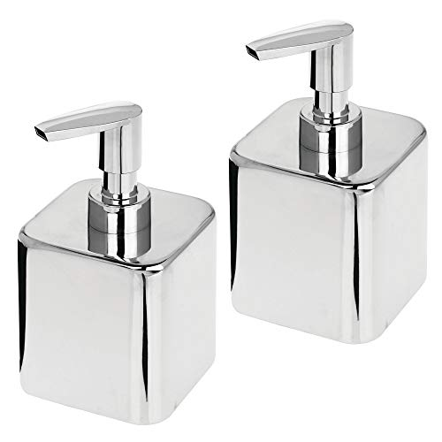 mDesign Small Modern Square Metal Refillable Liquid Hand Soap Dispenser Pump Bottle for Kitchen, Bathroom, Powder Room - Holds Hand Soap, Dish Soap, Hand Sanitizer & Essential Oils - 2 Pack - Chrome