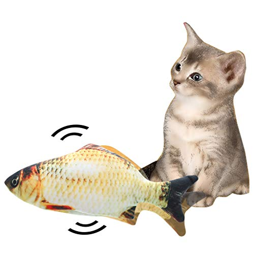 Electric Realistic Fish Wagging Simulation Fish Doll Toy,Funny Interactive Pets Chew Bite Supplies for Cat/Kitty/Kitten Fish Flop Cat Toy Catnip Toys,Cute Fish Plush Toy with Catmint Catnip Toys (A) 3