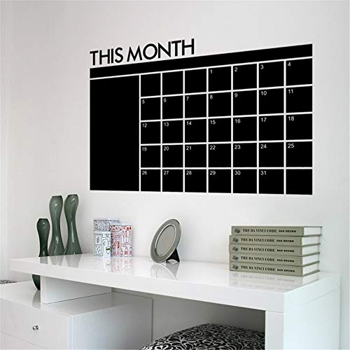 gapaes Quotes Wall Stickers Removable Vinyl Art Decal Wall Stickers for Bedroom Month Plan Sticker Wall Calendar Blackboard Office Monthly Planner Creative This Month 60X92Cm