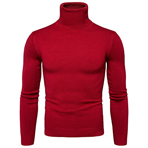 - Lavnis Men's Turtleneck Pullover Sweater Casual Basic Knitted Slim Fit Sweatershirts Red L