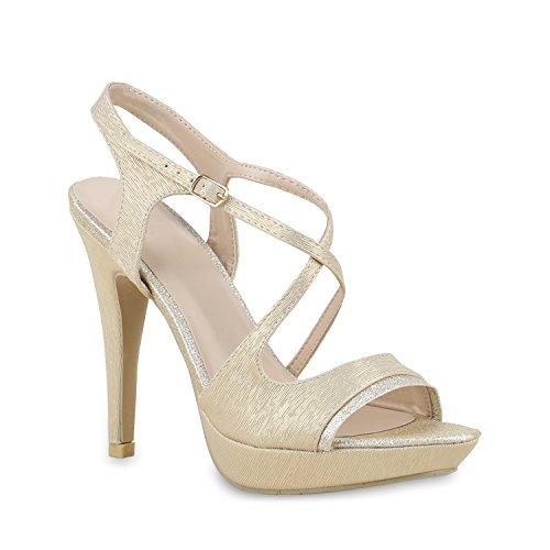 Stiefelparadies Elegante Damen Sandaletten Stiletto High Heels Samt-Optik Party Schuhe Riemchensandaletten Glitzer Metallic Brautschuhe Flandell Gold Muster