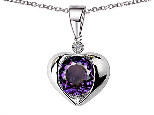 Star K Round 7mm Simulated Alexandrite Heart Pendant Necklace Sterling Silver