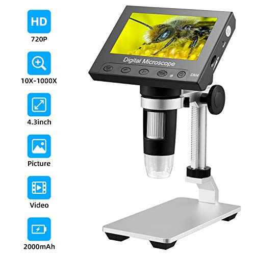 STPCTOU LCD Digital USB Microscope 4.3 Inch 10X-1000X Magnification Zoom, 8 LED Adjustable Light, Rechargeable Lithium Battery Camera Video Recorder for Phone Repair Soldering Tool Children Lab Edu