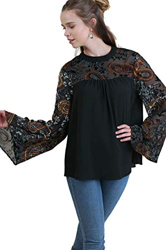 Tunic Top Burnout Floral (umgee USA Women's Paisley & Floral Embroidered Top with Velvet Burnout Bell Sleeves (Small, Black))