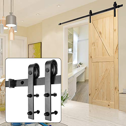 Homedex Sliding Barn Door Hardware Kit Black 6.6FT J Steel Set