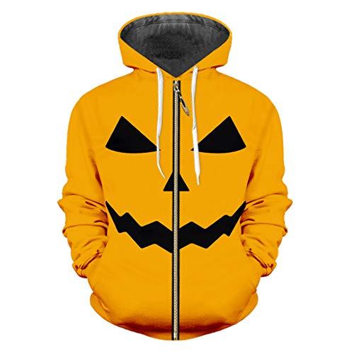 Man Halloween Yellow Lovely Zip Hoodies 3D Printed Funny Human Face Pumpkin Pattern Halloween Pumpkin M]()