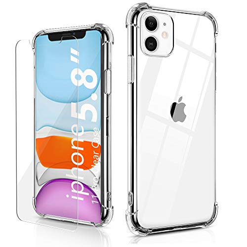 BELONGME Compatible with iPhone 11 Pro Case with Built-in 2 Screen Protectors, Crystal Clear Case with 4 Corners Shockproof Protection Soft Scratch-Resisitant TPU Cover for iPhone 11 Pro 5.8 inch. (Screen Crystal Protector)