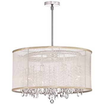 Dainolite Lighting 85302-PC-117 Bohemian Crystal Chandelier Oyster Organza Drum Shade 8-Light Polished Chrome