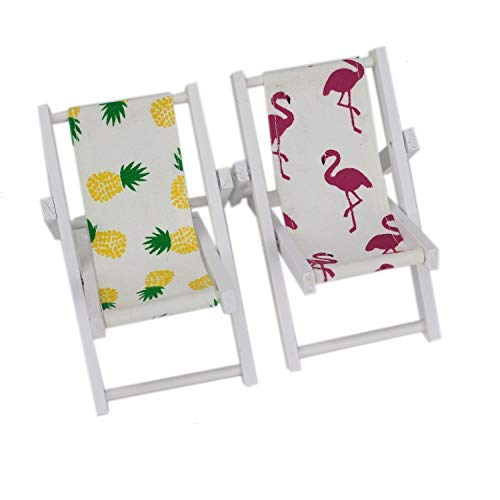 HUELE 2 PCS Mini Wooden Beach Chair Longue Deck Chair Craft Dollhouse Accessories
