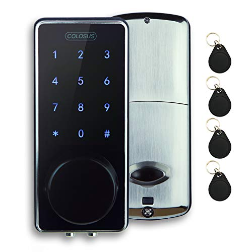 COLOSUS NDL626 Keyless Entry Deadbolt Smart Door Lock with Auto-Lock, Anti-Theft, Touchscreen Keypad Up to 100 Users Multiple Codes, 4 Key Fobs, 2 Keys