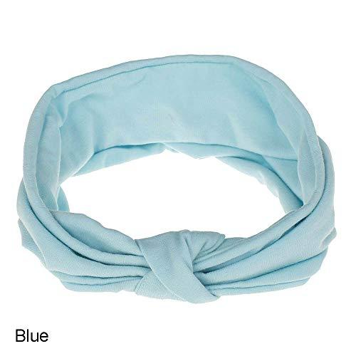 (Women Sports/Yoga Elastic Twisted Turban Knot Head Wrap Headband Hair Band (Color - Blue))