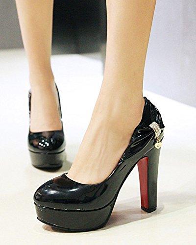 Mariage Chunky Femme Talon Aisun Noir Chaussures Escarpins Mode Pour wxYqw4zI