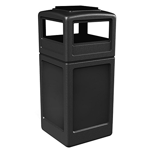 - Commercial Zone Square Waste Container with Ashtray Lid, Polyethylene, 42-gal, Black