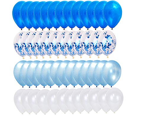 """50 PC Pack of Blue, Light Blue, White, and Blue Foil Confetti 12"""" Medium Balloons - Great for 1st Birthday, Boy"""
