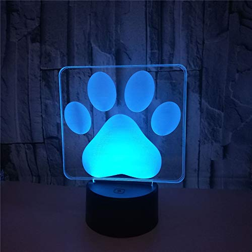 Multi Colored Paw Prints - L2eD 3D Led Lamp Table Night Light 7 Color Change Light with Multicolored Touch Button Acrylic Power by USB Or Batteries Gifts Kids Dog Paw Print