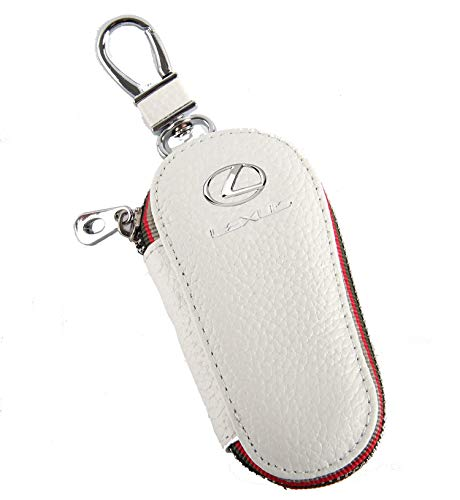 (Key Chain Bag White Lychee rind Pattern Genuine Leather Ring Holder Case Car Auto Coin Universal Remote Smart Key Cover Fob Alarm Security Zipper Keychain Wallet Bag (Lexus))