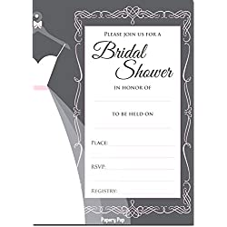 30 Bridal Shower Invitations with Envelopes (30 Pack) - Wedding Shower Invitations - Grey