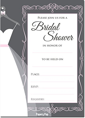 30 Bridal Shower Invitations with Envelopes (30 Pack) - Wedding Shower Invitations - Grey ()