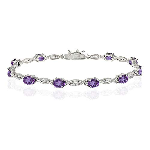 GemStar USA Sterling Silver African Amethyst and White Topaz Oval-Cut Swirl Tennis Bracelet