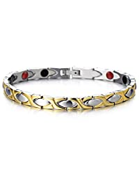 Magnetic Link Bracelet for Women Stainless Steel with Magnets, Germanium, Negative Free Link Removal Kit