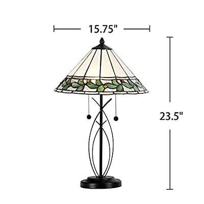 "Cloud Mountain Tiffany Style 15.75"" Lampshade Table Lamp Floral Leaf Stained Glass Desk Lamp Home Decor Lighting"