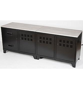 Meuble Tv En Metal Noir 3 Portes Et 2 Tiroirs Amazon Fr Cuisine