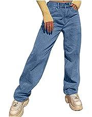 Hunpta @ Dames Jeans Straight Boyfriend Jeans Hoge Taille Effen Jeans Locker Casual Denim Vrijetijdsbroek Mode Streetwear Broek Lang
