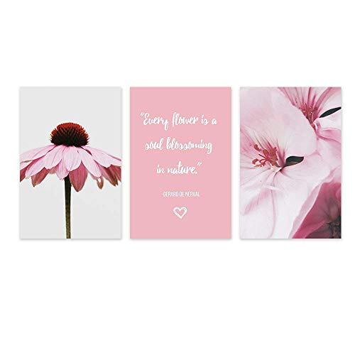 3 Panel Pink Flowers and Inspirational Quotes x 3 Panels