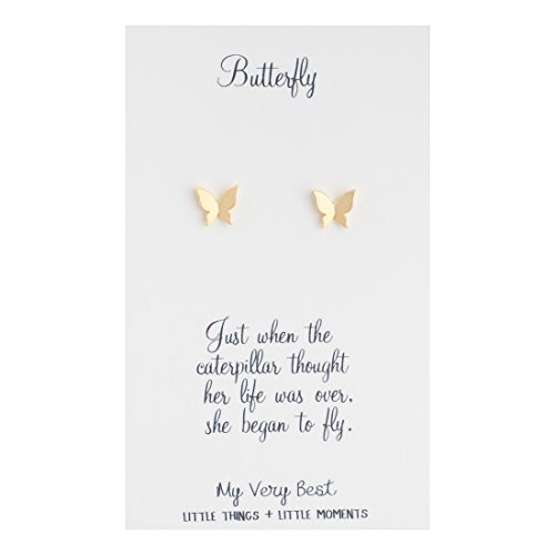 My Very Best Tiny Butterfly Stud Earrings (Gold Plated Brass) ()