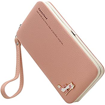 Smartphone Wristlet,Ladies Clutch Purse Wallet Mobile Phone Wristlet Wallet Large Capacity with Strap Wrist for iPhone 8/ 8 Plus/7/ 7 Plus/6S /6S Plus/6 /Samsung Galaxy S8/S7/S6 by Emoonland ( Pink )