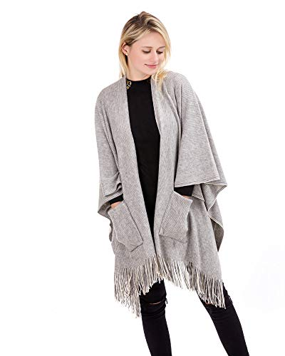 HILLDI Women Knitted Sweater Coat Winter Cashmere Poncho Capes Shawl Cardigans ()