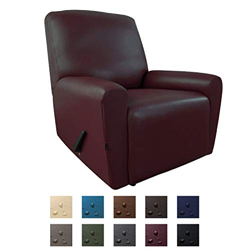 Easy-Going PU Leather Recliner slipcovers, Waterproof Stretch Sofa Covers, 4 Pieces Stretch Furniture Protector, Anti-Slip Elastic Strap Shield Pets Kids Children Cats Dogs(Recliner, Wine)
