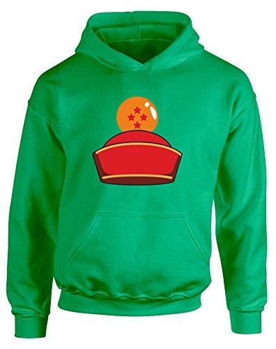 Dragon Ball Hat, Kids Printed Hoodie - Kelly Green/Transfer 5-6 Years