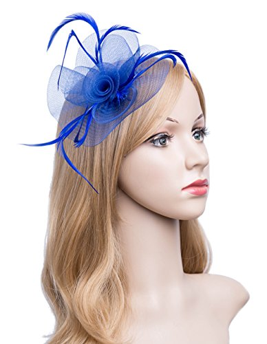 Kathyclassic Fascinator Hats for Women Feather Cocktail Party Hats Bridal Kentucky Derby Headband (Z-Royal Blue) by Kathyclassic (Image #7)