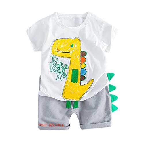❤️ Mealeaf ❤️ Toddler Baby Kids Boy Dinosaur Tops T-Shirt Patchwork Short Pants Casual Outfits(3-24M)