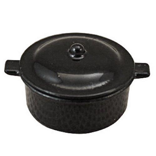 SODIAL(R) Dollhouse Miniature Kitchen Utensil Cookware Casserole Dish Stew Pan Stockpot 12th Scale, Black