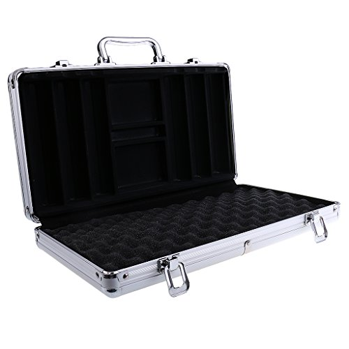 MonkeyJack 100/200/300/500pcs Capacity Poker Chips Aluminum Case Container Poker Chips Storage Box Poker Chips Suitcase - Silver, 300pc (300 Chip Aluminum Case)