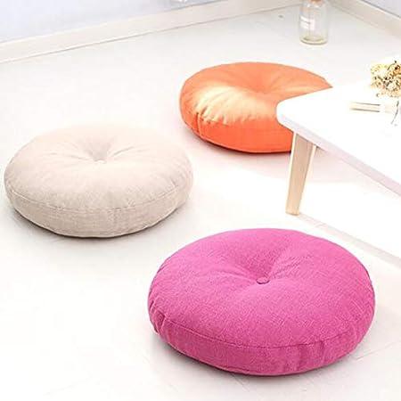16x16inch Seat cushion Coussin De Plancher De Couleur Solide,Rond Lin Lavable Coussin De Si/ège /épaissi pour Coussin Ext/érieur De Chaise De Salon De Bureau De Yoga-Beige 40x40cm