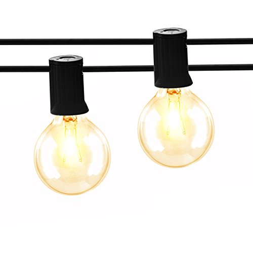 Gorld 100Ft G40 Globe String Lights, UL listed Backyard Lights, Super Long Weatherproof Indoor/Outdoor String Light for Deckyard Tents, Patios, Weddings, Party Decor, 67 Clear Bulbs + 4 Spare, Black