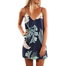Assivia Womens Sexy V Neck Halter Printed Casual Sleeveless Strap Mini Dress