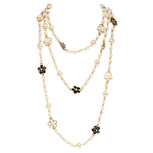 Fashion Jewelry MISASHA Flower Charms Faux Pearl Necklace For ()