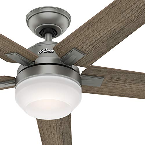 Hunter Fan 54 inch Contemporary Matte Silver Indoor Ceiling Fan with Light Kit and Remote Control (Renewed) (Ceiling Fan Light Kit Silver)