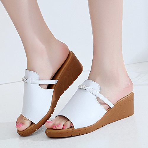 YMFIE Sandalias y Zapatillas de cuña de Cuero de Moda Casual Verano Damas cómodos Zapatos de Playa de Fondo Suave Antideslizante white