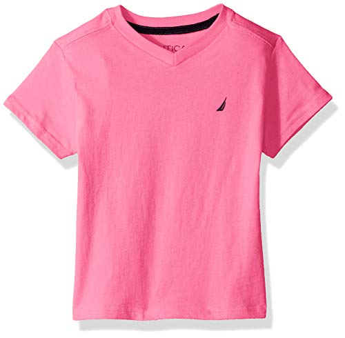 Nautica Toddler Boys' Short Sleeve Solid V-Neck T-Shirt, Strait Pink, 2T