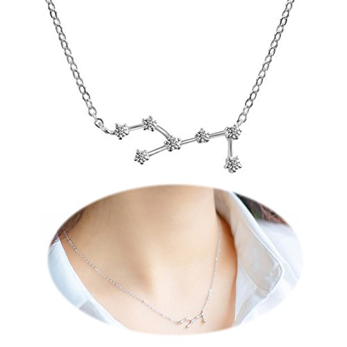 Horoscope Necklace Zodiac Pendant Constellation Charm Astrology Choker Collarbone Crystal Chain Jewelry Virgo