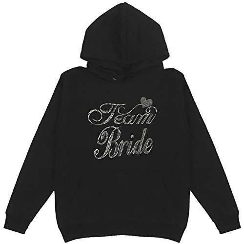 Team Bride Rhinestone Pullover Hoodie Plus Size Unisex Handmade Bling (Rhinestone Bride Hoodie)
