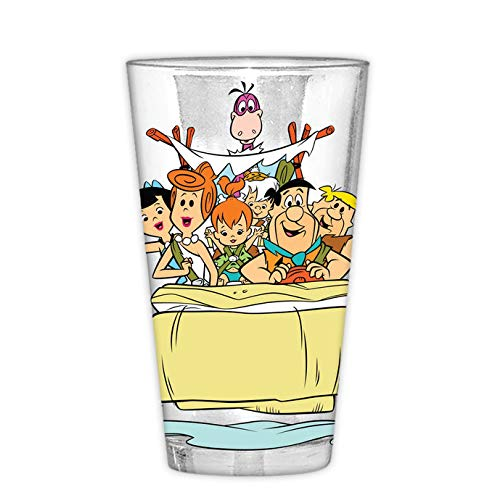 (Silver Buffalo FLN20166B The Flintstones Family In Car Pint Glass with Gift Box, 16-Ounce)