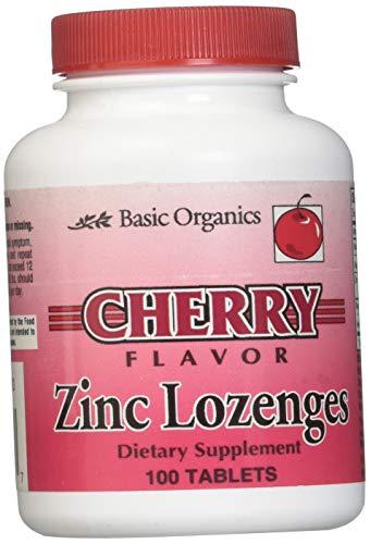 - Basic Organics Natural Flavor Zinc Lozenges, Cherry, 100 Tablets